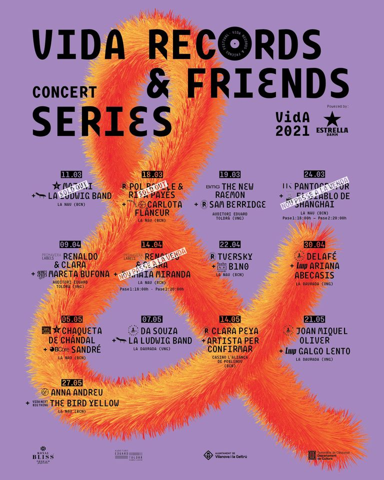 da Records & Friends el ciclo de conciertos que Vida Festival programa del 11 de marzo al 27 de abril a las ciudades de BarcelonayVilanova i la Geltrú.
